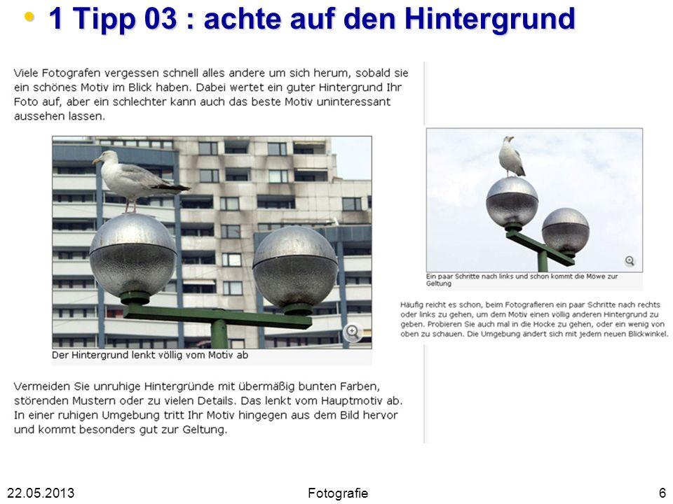 1 Tipp 03 : achte auf den Hintergrund 1 Tipp 03 : achte auf den Hintergrund 622.05.2013Fotografie