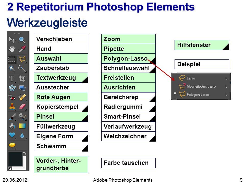 9 2 Repetitorium Photoshop Elements Adobe Photoshop Elements Verschieben Hand Auswahl Zauberstab Textwerkzeug Ausstecher Rote Augen Kopierstempel Pins