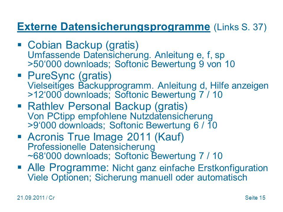 21.09.2011 / CrSeite 15 Externe Datensicherungsprogramme (Links S.