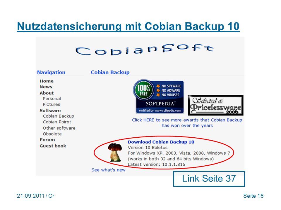 21.09.2011 / CrSeite 16 Nutzdatensicherung mit Cobian Backup 10 Link Seite 37