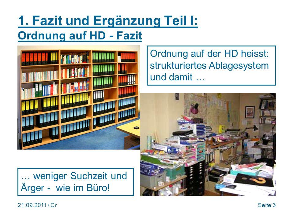 21.09.2011 / CrSeite 14 Datensicherung mit W7 (sh. PCtipp 7/2011)