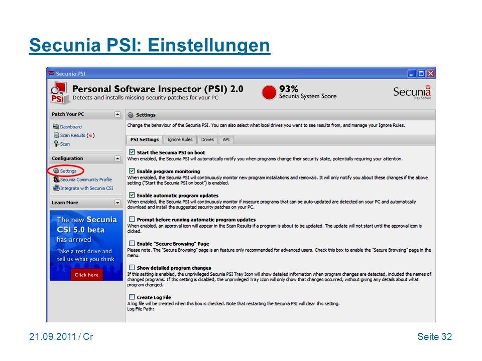 21.09.2011 / CrSeite 32 Secunia PSI: Einstellungen