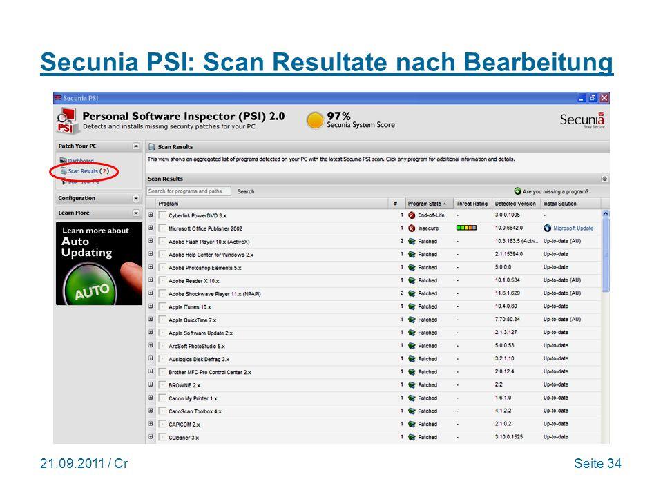 21.09.2011 / CrSeite 34 Secunia PSI: Scan Resultate nach Bearbeitung