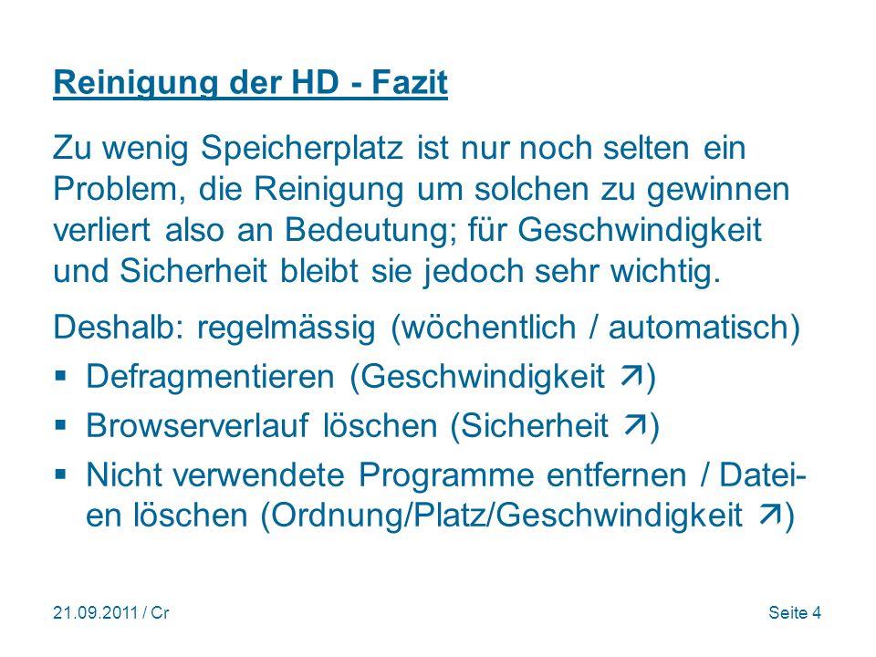 21.09.2011 / CrSeite 5 Reinigungsprogramm Glary Utilities Link Seite 37 >300000 downloads; Nr.