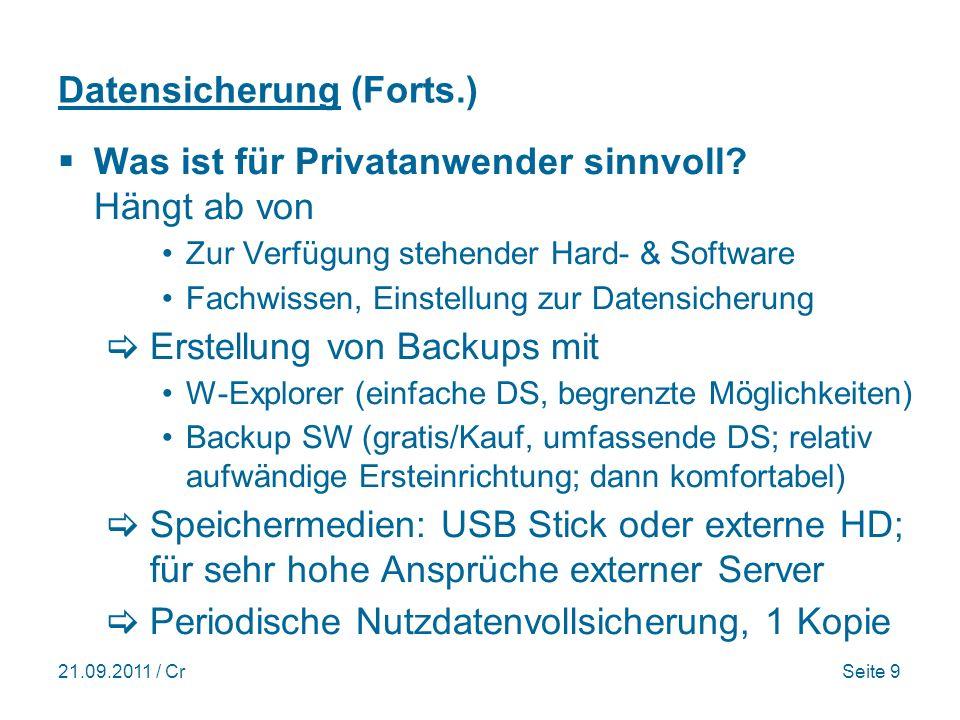 21.09.2011 / CrSeite 9 Datensicherung (Forts.) Was ist für Privatanwender sinnvoll.