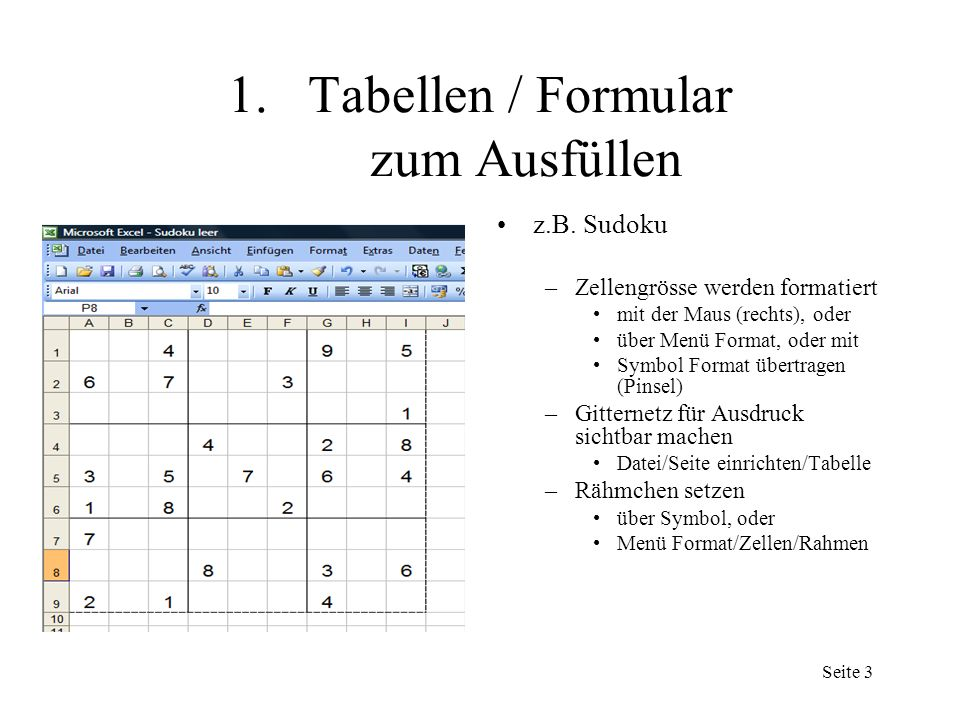 Seite 2 1.Tabellen / Formular zum Ausfüllen z.B.
