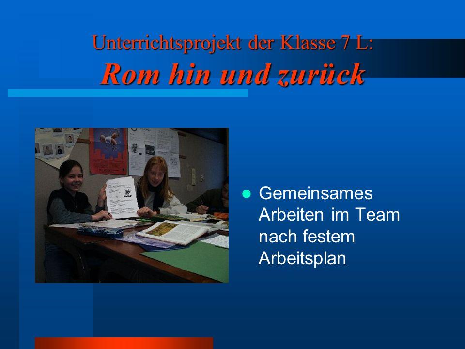 Unterrichtsprojekt der Klasse 7 L: Rom hin und zurück Bildung von sechs Arbeitsgruppen zu folgenden Themen: Römische Thermen Antike Villa Essen und Tr