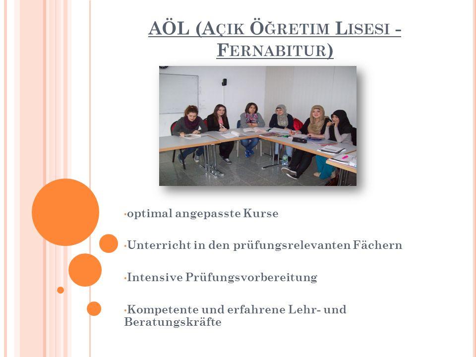 AÖL (A ÇIK Ö ĞRETIM L ISESI - F ERNABITUR ) optimal angepasste Kurse Unterricht in den prüfungsrelevanten Fächern Intensive Prüfungsvorbereitung Kompetente und erfahrene Lehr- und Beratungskräfte