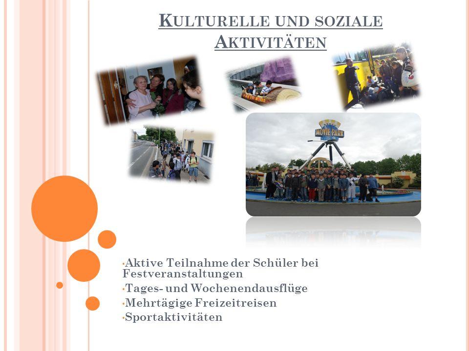 K ULTURELLE UND SOZIALE A KTIVITÄTEN Aktive Teilnahme der Schüler bei Festveranstaltungen Tages- und Wochenendausflüge Mehrtägige Freizeitreisen Sportaktivitäten