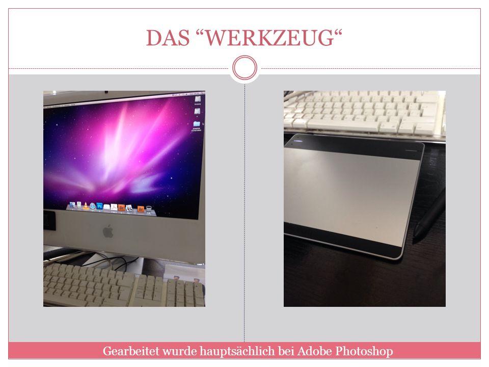 DAS WERKZEUG Gearbeitet wurde hauptsächlich bei Adobe Photoshop
