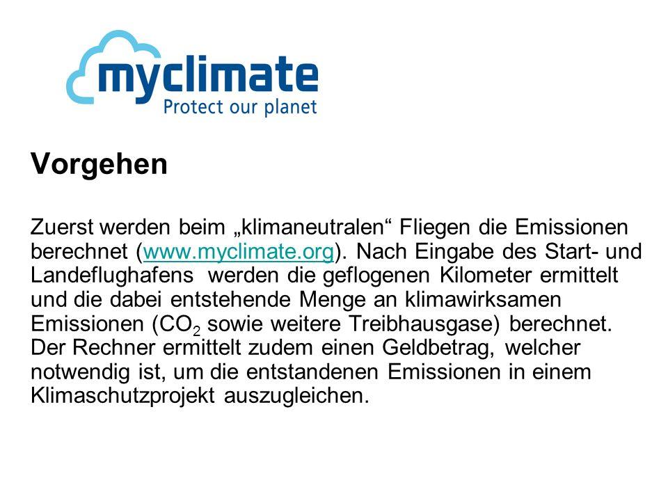 Vorgehen Zuerst werden beim klimaneutralen Fliegen die Emissionen berechnet (www.myclimate.org).