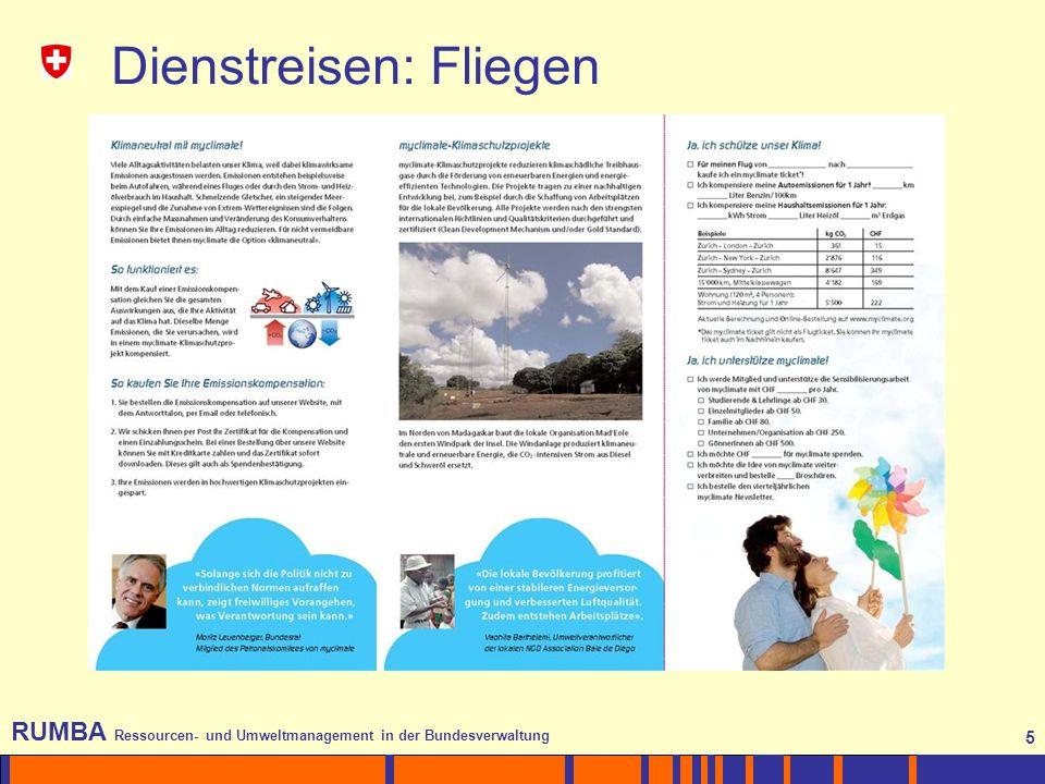 5 RUMBA Ressourcen- und Umweltmanagement in der Bundesverwaltung 5 Dienstreisen: Fliegen