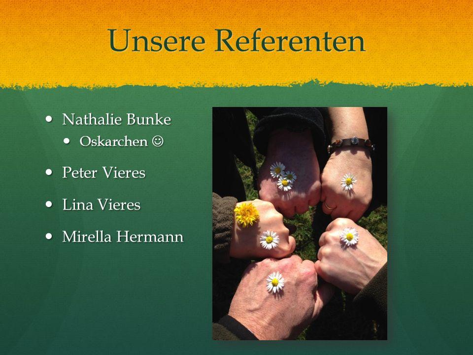 Unsere Referenten Nathalie Bunke Nathalie Bunke Oskarchen Oskarchen Peter Vieres Peter Vieres Lina Vieres Lina Vieres Mirella Hermann Mirella Hermann