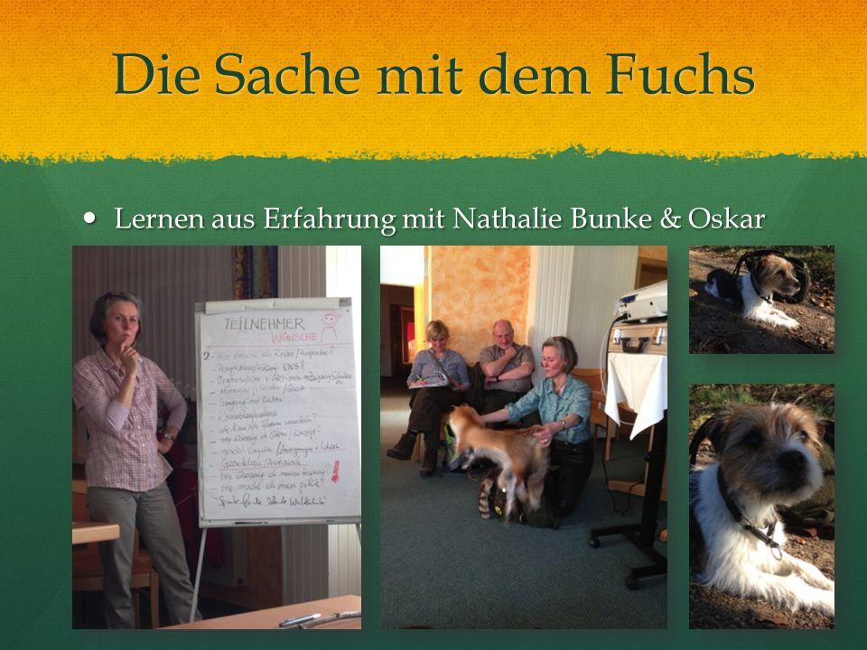 Die Sache mit dem Fuchs Lernen aus Erfahrung mit Nathalie Bunke & Oskar Lernen aus Erfahrung mit Nathalie Bunke & Oskar
