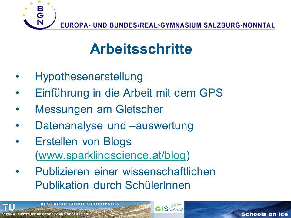 Arbeitsschritte Hypothesenerstellung Einführung in die Arbeit mit dem GPS Messungen am Gletscher Datenanalyse und –auswertung Erstellen von Blogs (www
