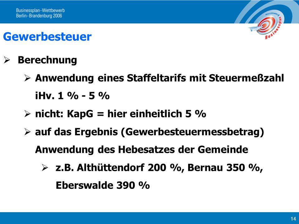 14 Gewerbesteuer Berechnung Anwendung eines Staffeltarifs mit Steuermeßzahl iHv. 1 % - 5 % nicht: KapG = hier einheitlich 5 % auf das Ergebnis (Gewerb