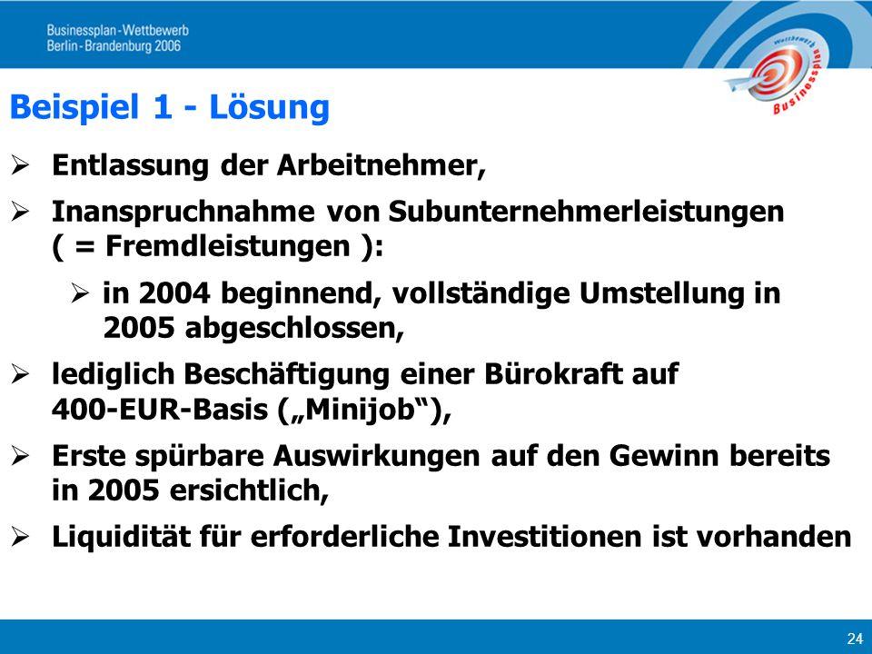 24 Beispiel 1 - Lösung Entlassung der Arbeitnehmer, Inanspruchnahme von Subunternehmerleistungen ( = Fremdleistungen ): in 2004 beginnend, vollständig