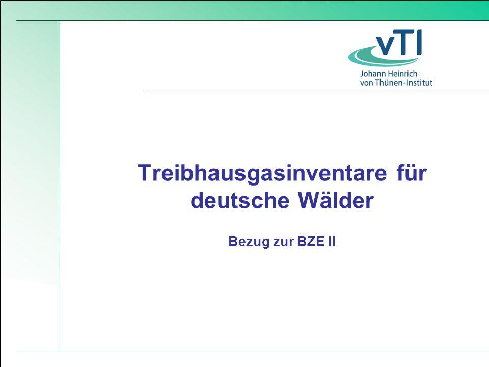 Treibhausgasinventare für deutsche Wälder Bezug zur BZE II