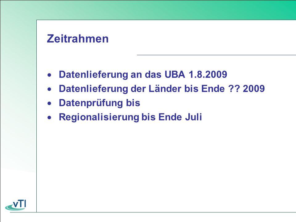 Zeitrahmen Datenlieferung an das UBA 1.8.2009 Datenlieferung der Länder bis Ende .