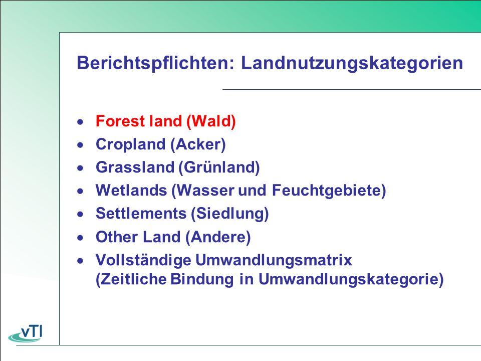 Berichtspflichten: Landnutzungskategorien Forest land (Wald) Cropland (Acker) Grassland (Grünland) Wetlands (Wasser und Feuchtgebiete) Settlements (Siedlung) Other Land (Andere) Vollständige Umwandlungsmatrix (Zeitliche Bindung in Umwandlungskategorie)