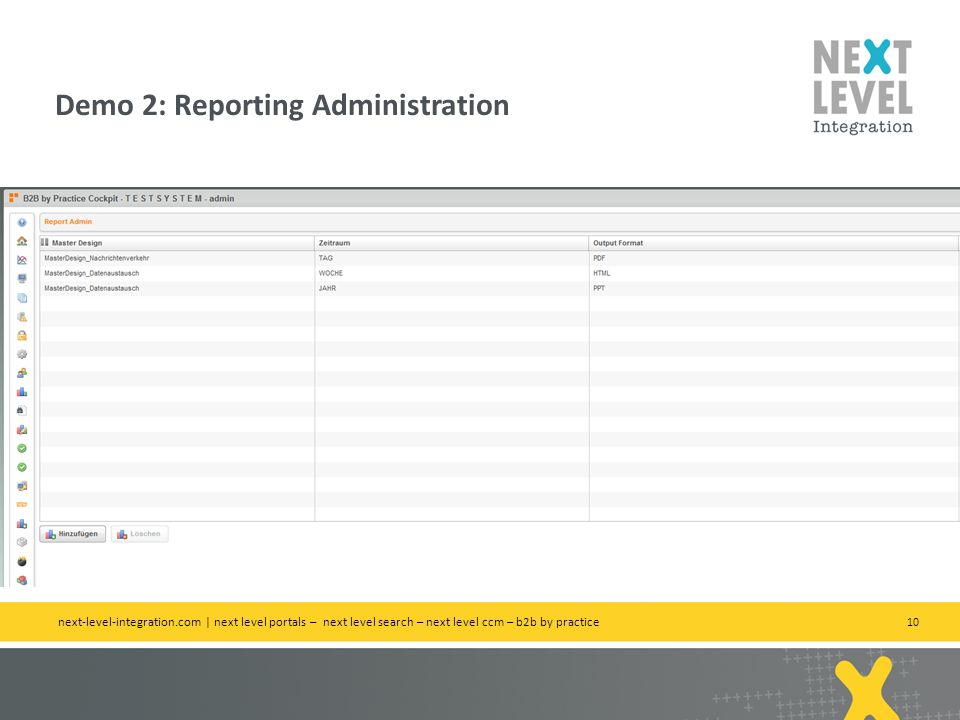 10 Demo 2: Reporting Administration next-level-integration.com | next level portals – next level search – next level ccm – b2b by practice