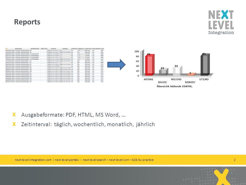 2 Reports next-level-integration.com | next level portals – next level search – next level ccm – b2b by practice Ausgabeformate: PDF, HTML, MS Word, …