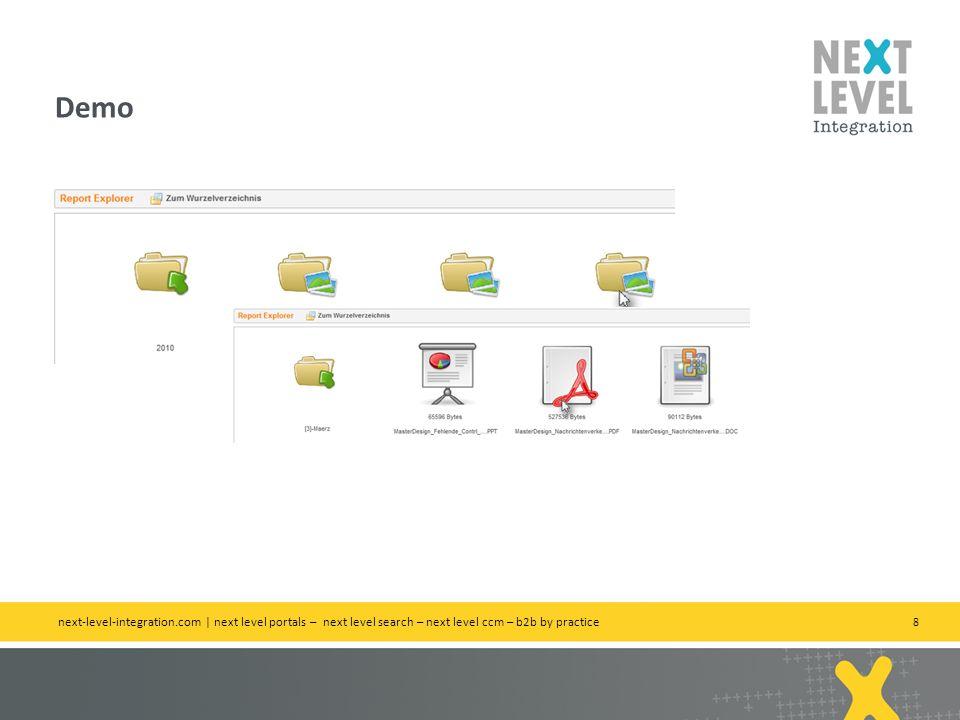 8 Demo next-level-integration.com | next level portals – next level search – next level ccm – b2b by practice