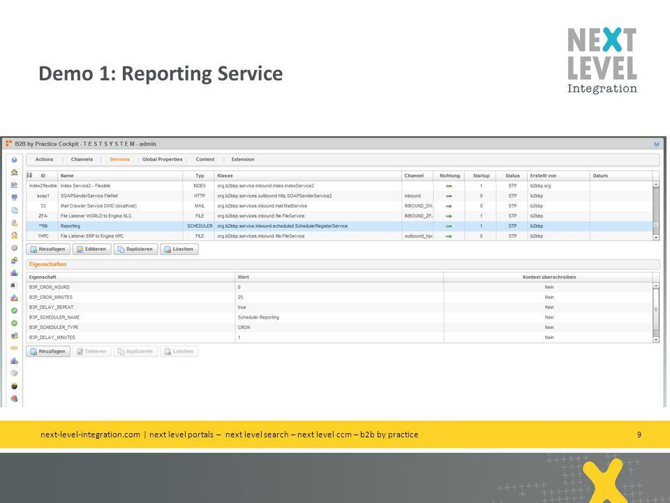 9 Demo 1: Reporting Service