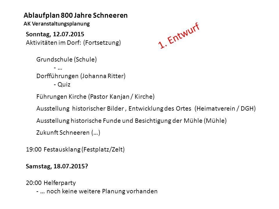 Ablaufplan 800 Jahre Schneeren AK Veranstaltungsplanung Sonntag, 12.07.2015 Aktivitäten im Dorf: (Fortsetzung) Grundschule (Schule) - … Dorfführungen