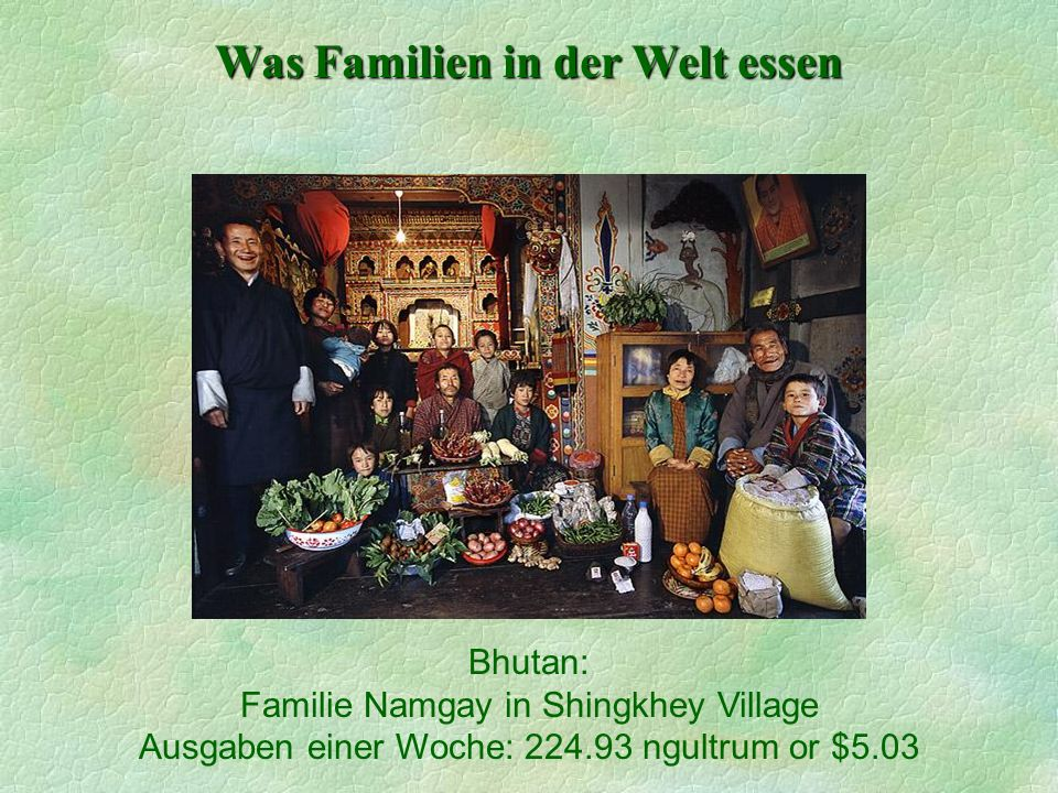 Was Familien in der Welt essen Bhutan: Familie Namgay in Shingkhey Village Ausgaben einer Woche: 224.93 ngultrum or $5.03