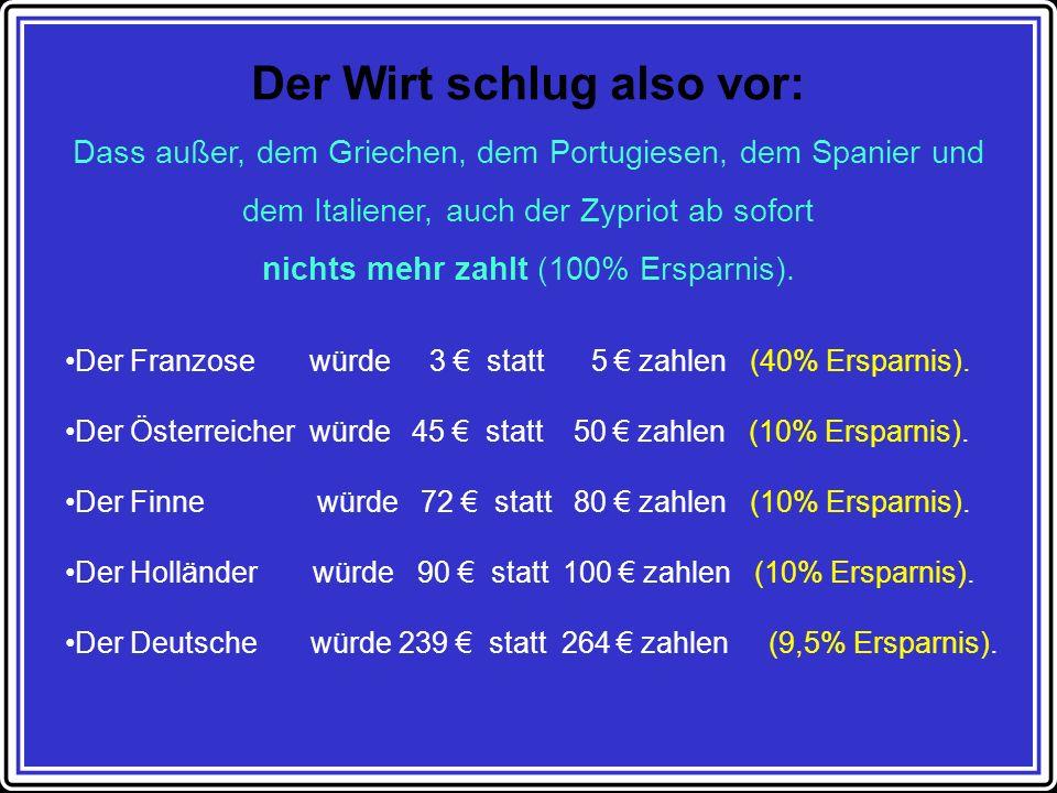 Der Wirt schlug also vor: Dass außer, dem Griechen, dem Portugiesen, dem Spanier und dem Italiener, auch der Zypriot ab sofort nichts mehr zahlt (100% Ersparnis).