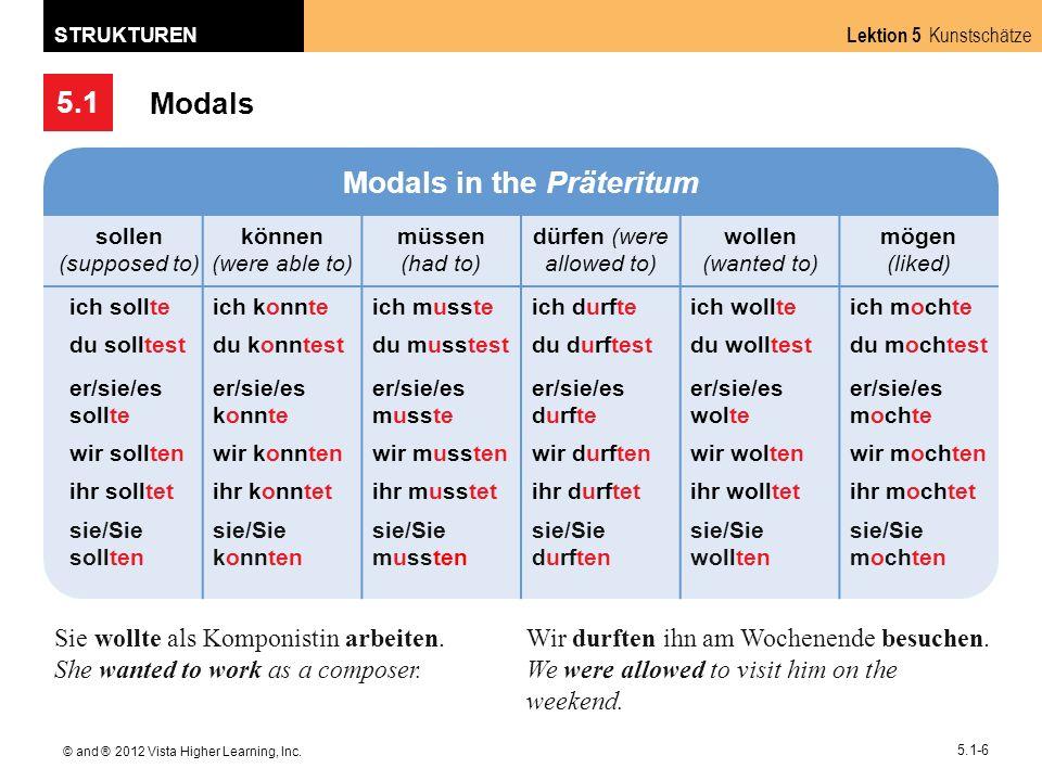 5.1 Lektion 5 Kunstschätze STRUKTUREN © and ® 2012 Vista Higher Learning, Inc. 5.1-6 Modals Modals in the Präteritum sollen (supposed to) können (were