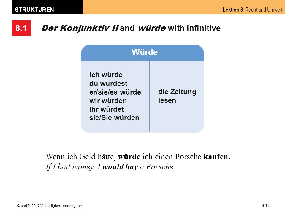 8.1 Lektion 8 Recht und Umwelt STRUKTUREN © and ® 2012 Vista Higher Learning, Inc.
