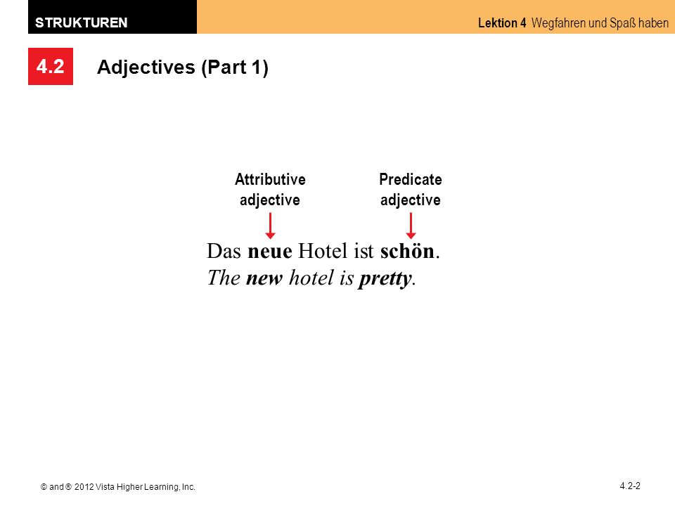4.2 Lektion 4 Wegfahren und Spaß haben STRUKTUREN © and ® 2012 Vista Higher Learning, Inc. 4.2-2 Adjectives (Part 1) Das neue Hotel ist schön. The new