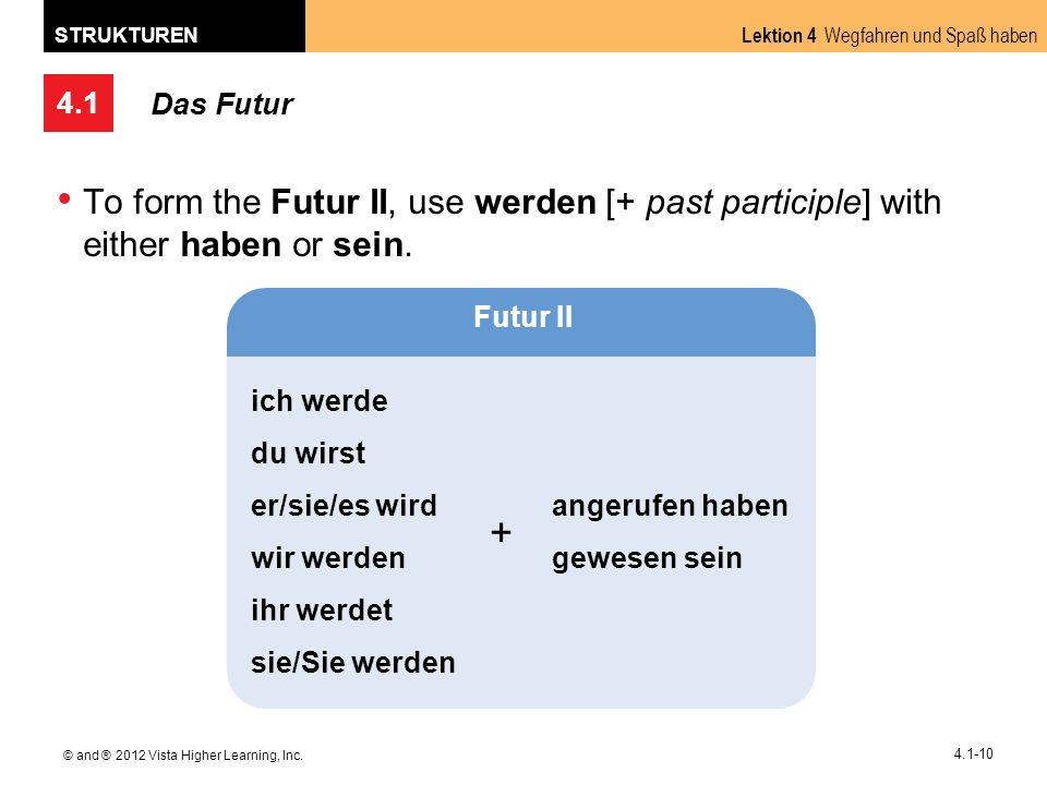 4.1 Lektion 4 Wegfahren und Spaß haben STRUKTUREN © and ® 2012 Vista Higher Learning, Inc. 4.1-10 Das Futur To form the Futur II, use werden [+ past p
