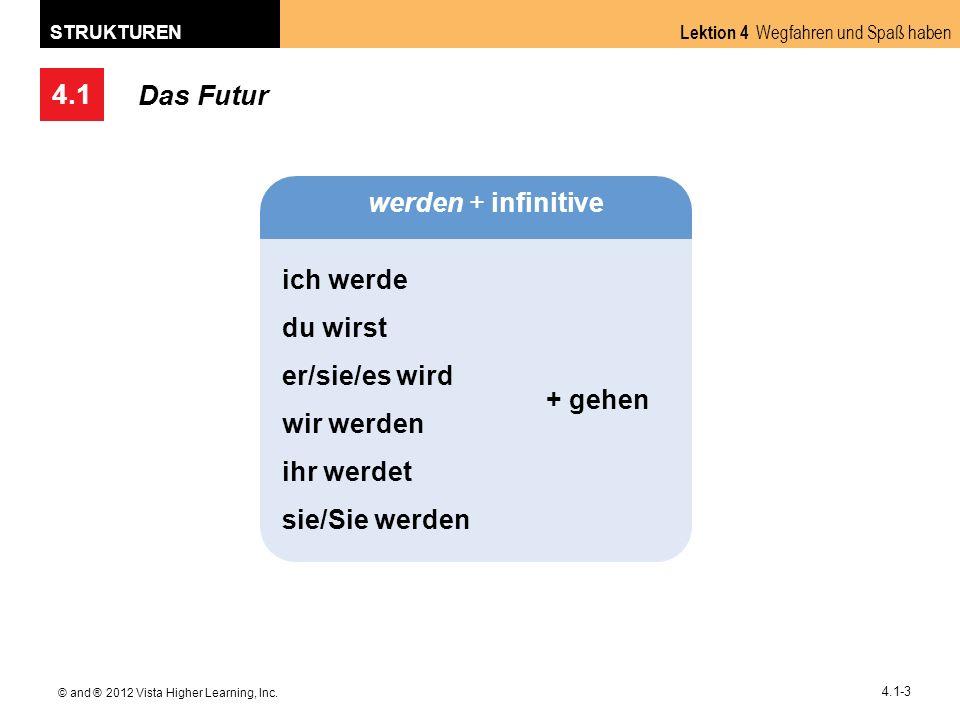 4.1 Lektion 4 Wegfahren und Spaß haben STRUKTUREN © and ® 2012 Vista Higher Learning, Inc. 4.1-3 Das Futur werden + infinitive ich werde du wirst er/s
