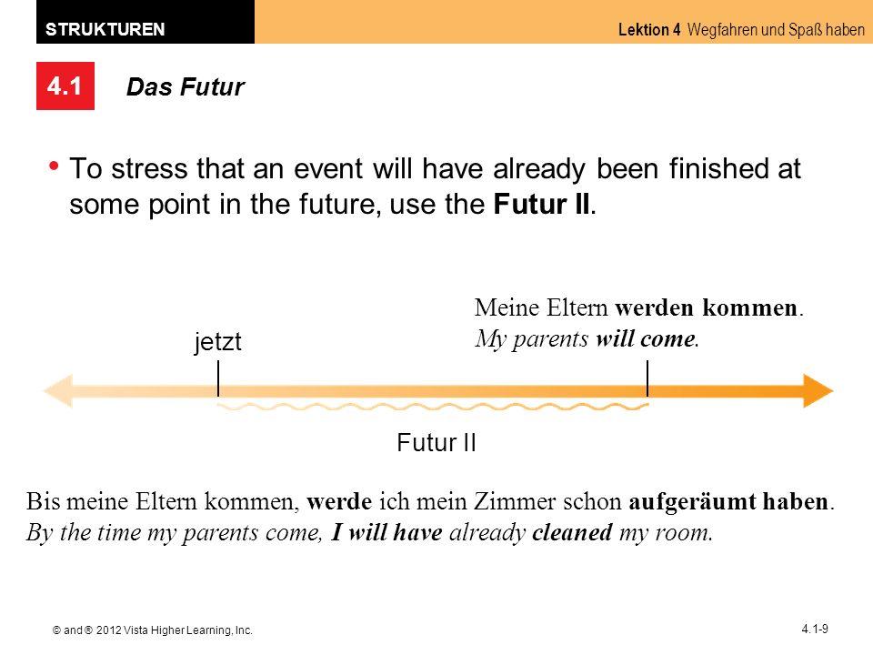 4.1 Lektion 4 Wegfahren und Spaß haben STRUKTUREN © and ® 2012 Vista Higher Learning, Inc. 4.1-9 Das Futur To stress that an event will have already b