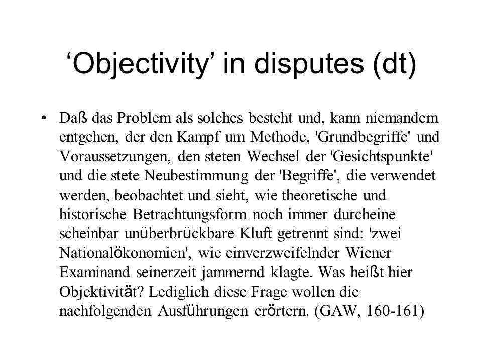 Objectivity in disputes (dt) Da ß das Problem als solches besteht und, kann niemandem entgehen, der den Kampf um Methode, 'Grundbegriffe' und Vorausse