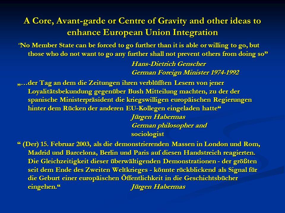 A Core, Avant-garde or Centre of Gravity and other ideas to enhance European Union Integration Die Bevölkerungen müssen ihre nationalen Identitäten gewissermaßen aufstocken und um eine europäische Dimension erweitern.
