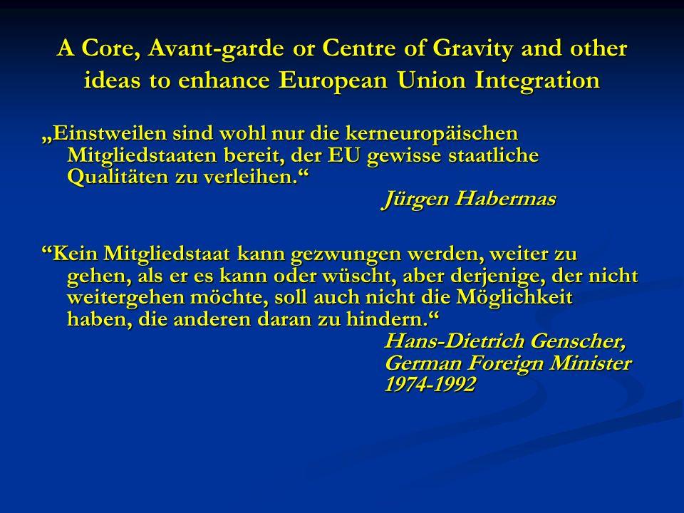 A Core, Avant-garde or Centre of Gravity and other ideas to enhance European Union Integration Einstweilen sind wohl nur die kerneuropäischen Mitgliedstaaten bereit, der EU gewisse staatliche Qualitäten zu verleihen.