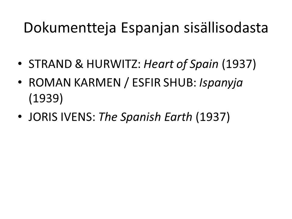 Dokumentteja Espanjan sisällisodasta STRAND & HURWITZ: Heart of Spain (1937) ROMAN KARMEN / ESFIR SHUB: Ispanyja (1939) JORIS IVENS: The Spanish Earth (1937)