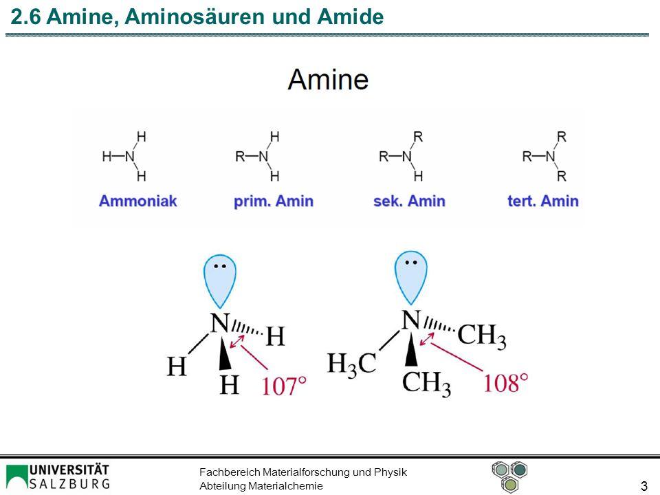 Fachbereich Materialforschung und Physik Abteilung Materialchemie 4 2.6 Amine, Aminosäuren und Amide