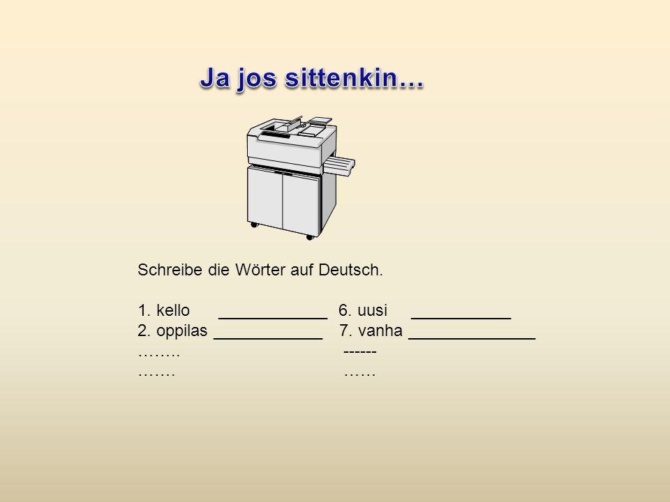 Schreibe die Wörter auf Deutsch.1. kello ____________6.