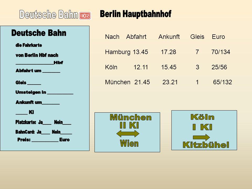 Nach Abfahrt Ankunft Gleis Euro Hamburg 13.45 17.28 7 70/134 Köln 12.11 15.45 3 25/56 München 21.45 23.21 1 65/132