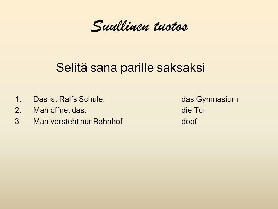 Suullinen tuotos Selitä sana parille saksaksi 1.Das ist Ralfs Schule.das Gymnasium 2.Man öffnet das.die Tür 3.Man versteht nur Bahnhof.doof