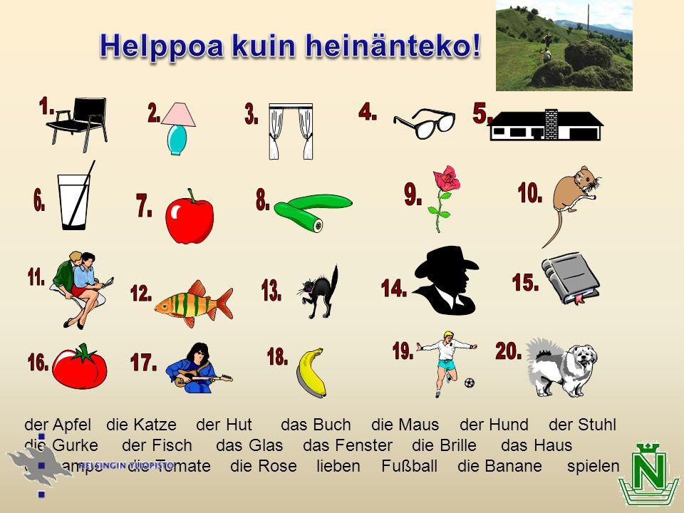 der Apfel die Katze der Hut das Buch die Maus der Hund der Stuhl die Gurke der Fisch das Glas das Fenster die Brille das Haus die Lampe die Tomate die Rose lieben Fußball die Banane spielen