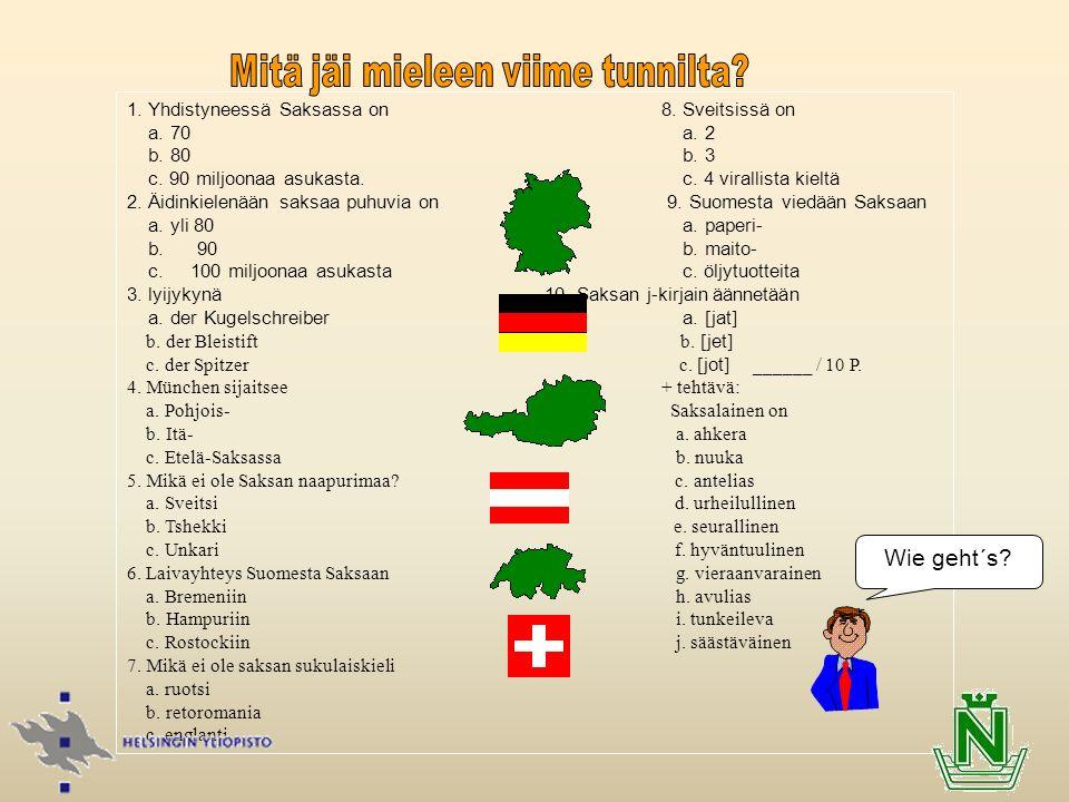 1. Yhdistyneessä Saksassa on8. Sveitsissä on a. 70 a. 2 b. 80 b. 3 c. 90 miljoonaa asukasta. c. 4 virallista kieltä 2. Äidinkielenään saksaa puhuvia o