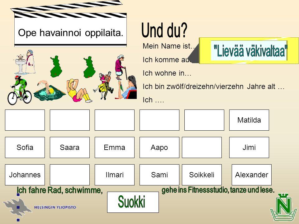 SoikkeliSamiIlmari EmmaAapo Mein Name ist… Ich komme aus… Ich wohne in… Ich bin zwölf/dreizehn/vierzehn Jahre alt … Ich …. Saara Matilda Jimi Alexande