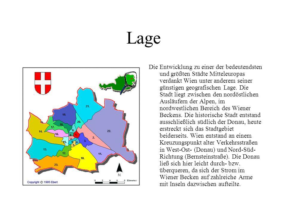Lage Die Entwicklung zu einer der bedeutendsten und größten Städte Mitteleuropas verdankt Wien unter anderem seiner günstigen geografischen Lage.