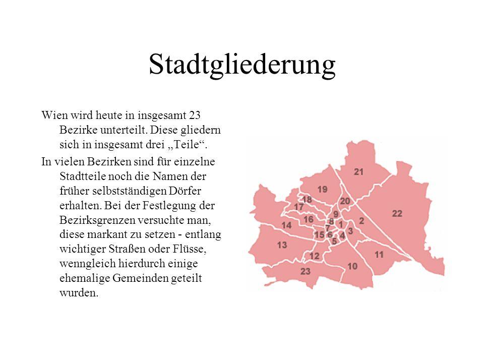 Stadtgliederung Wien wird heute in insgesamt 23 Bezirke unterteilt.